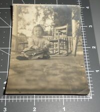 1900's Baby w/ Leather CAMERA Bag Child Rocking Chair Vintage PHOTO