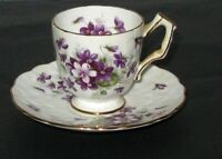 Vintage Aynsley Violette Fine Bone China Demitasse, Chocolate Cup and Saucer.