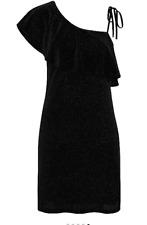 George Black Glitter Velour Off Shoulder Asymmetric Dress Size UK22/EUR50