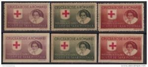 ROMANIA 1946 Red Cross Queen Mother Postal tax Perf+Imperf Gray paper MNH
