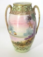 VINTAGE CIRCA 1910 NIPPON PORCELAIN VASE - HAND PAINTED COUNTRY SCENE