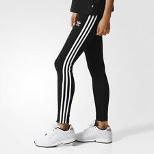 NEW WOMEN'S ADIDAS ORIGINALS 3-STRIPES LEGGINGS [AJ8156]  BLACK//WHITE