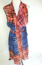 BCBG Maxaria Womens Small Dress Cover Up Red Blue Black NWOT Belted