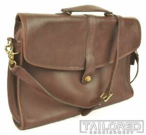 """COACH  0046-305 Brown Leather Crossbody Mens Briefcase Strap Bag - 15"""" x 12"""""""