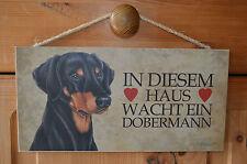 2.Wahl Türschild Tierschild Schild Tafel Holzschild Deko Bild Wandbild Dobermann
