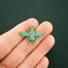 6 Bee Charms Antique Bronze Tone With Faux Patina Accents - BC1656