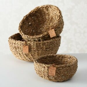 S/3 Brown Round Woven Seagrass Handmade Natural Home Storage Display Baskets