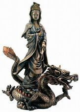 Kwan Yin Statue Riding Dragon Goddess of Compassion holding Holy Water Urn #7828