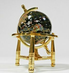Table Top Mother Of Pearl & Gemstone Rotating World Globe