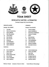 Teamsheet-Newcastle-Atromitos 2012/13 UEFA Europa League