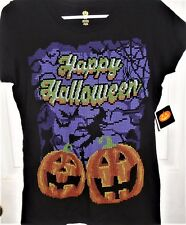 "Holiday Designs Women's Halloween Shirt Black Size Small "" Happy Halloween"" NEW"