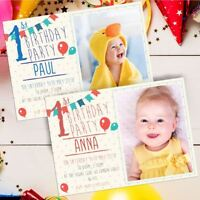 10 Personalised First 1st Birthday Party PHOTO Picture Frame Style Invitations !