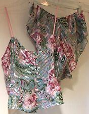 Victoria Secret Vintage Verde Y Rosa's Camisola & Tap Pantalones Cortos Lencería Conjunto Medio