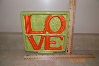 "Vintage Ceramic Sign ""LOVE"" Green and Orange 7.5"" x 7.5"""