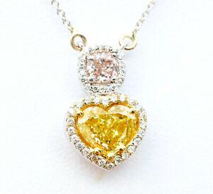 1.72ct Natural Fancy Deep Pink & Yellow Diamonds Necklaces & Pendant GIA 18K