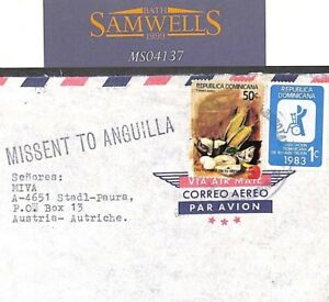 Dominican Republic Cover Austria Mail Superb *MISSENT TO ANGUILLA* 1983 MS4137