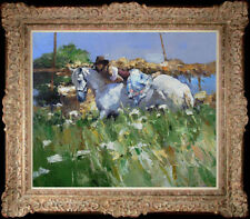 """Hand-painted Original Oil painting art knife flower horse girl On Canvas 20""""x24"""""""