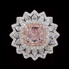 Women's Rose Pink Sapphire With Vivid White CZ Flower Design Wedding Fine Ring