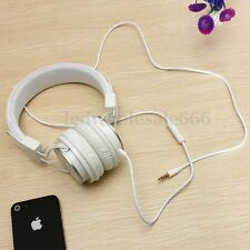 White Adjustable 3.5mm Stereo Over-Ear Earphone Headphone Mic For iPhone PC US
