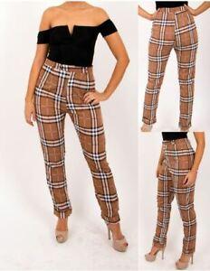 Ladies womens high waist plaid checked slim fit cigarette trouser UK6-16