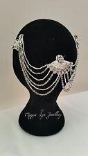 Art Deco Vintage Bridal hairpiece, head piece, hair jewellery, dimante drapes uk
