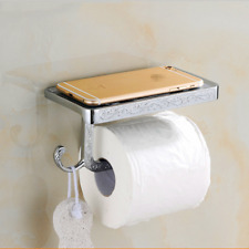 Antique Toilet Paper Holder Phone Shelf Wall Mounted Rack Chrome Finish Silver