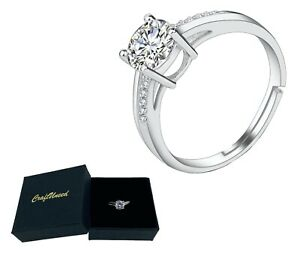 Craftuneed adjustable four prong faux diamond 18K platinum ring women girl gift