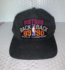 Vintage NBA Detroit Pistons Back To Back 89 90 World Champions Black Hat