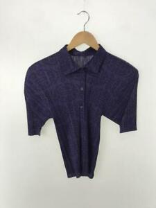 Pleats please Issey Miyake blue patterned button up blouse size 3 made in Japan