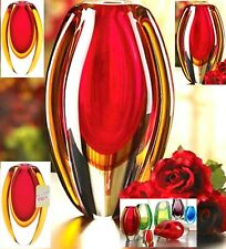 Romantic! ** BEAUTIFUL SUNFIRE GLASS VASE ** Breathtakingly Striking **  NIB