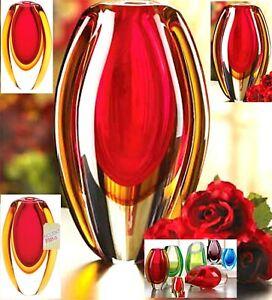 Romantic! ** BEAUTIFUL SUNFIRE GLASS VASE ** Breathtakingly Striking **  NIB