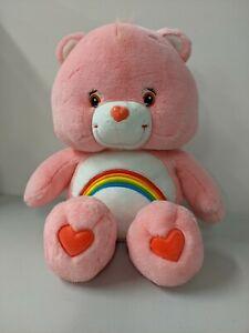 "Care Bears Cheer Bear 24"" Plush Toy Pink Rainbow 2002"