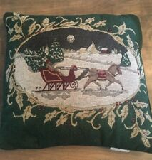 Vintage Christmas Throw Pillow Santa Claus Sleigh Reindeer Snowy Night 15x16