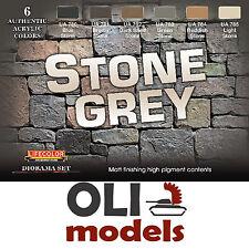 STONE GREY Diorama Acrylic Paint Set 6x20ml  LIFECOLOR CS40