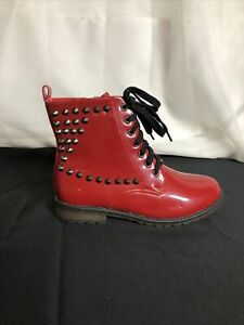 ANNA Faux Patent Leather Studded Combat Boots Troopa in Red