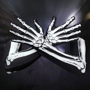2X Unisex Halloween Cosplay Skull Skeleton Bone Gloves Full Finger Warm Gloves