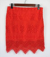 BANANA REPUBLIC Women's 2 - Red lace knit straight pencil skirt scalloped edge