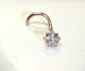 .10CT 2.5mm Princess Cut Natural Diamond 14K Rose Gold Curved Nose Ring Stud