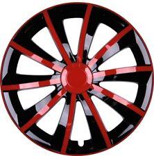 4x Premium Diseño Tapacubos parabrisas GRAL 15 pulgadas #53 Negro Rojo