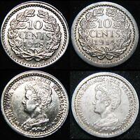 High Grade 1918 & 1914 10¢ Ten Cents Netherlands Nederlanden Dutch SILVER CR34