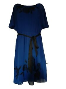 Monsoon Womens Smart Work Party Midi Dress Blue Size 14~Immaculate