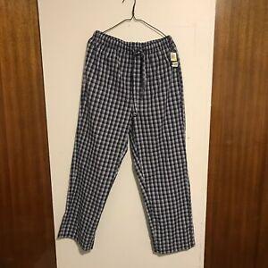 Nautica Men Pajama White Blue Plaid Pants Lounge Striped Sleepwear Size M