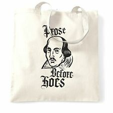 Novelty Parody Tote Bag Prose Before Hoes Shakespeare Logo Old English