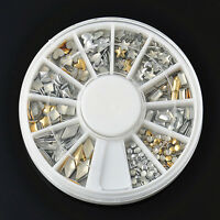 120 Pcs Gold Silver 3D Metal Nail Art Tips Metallic Studs Stickers Decoration JP