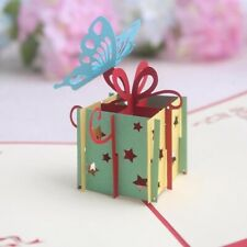 Butterfly Gifts Box Pop Up 3D Stereo Handmade Paper Greeting Cards Home Supplies