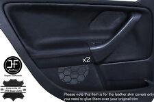 BLACK  LEATHER 2X REAR DOOR CARD TRIM COVERS FITS VW GOLF MK5 V 2004-2009 5 DOOR