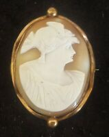 Gilt metal & carved shell cameo vintage Victorian brooch A
