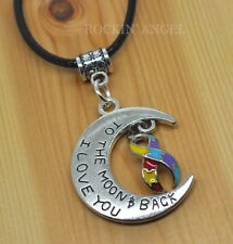 Antique Silver Plt 'I Love You To The Moon & Back' Autism Awareness Necklace