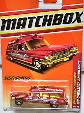 MATCHBOX 2011 EMERGENCY RESPONSE '63 CADILLAC AMBULANCE RED W+