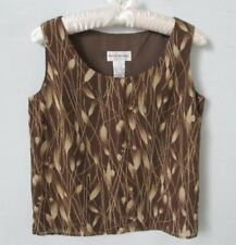 Rena Rowan brown floral polyester lined scoop neck sleeveless top *Sz 4*